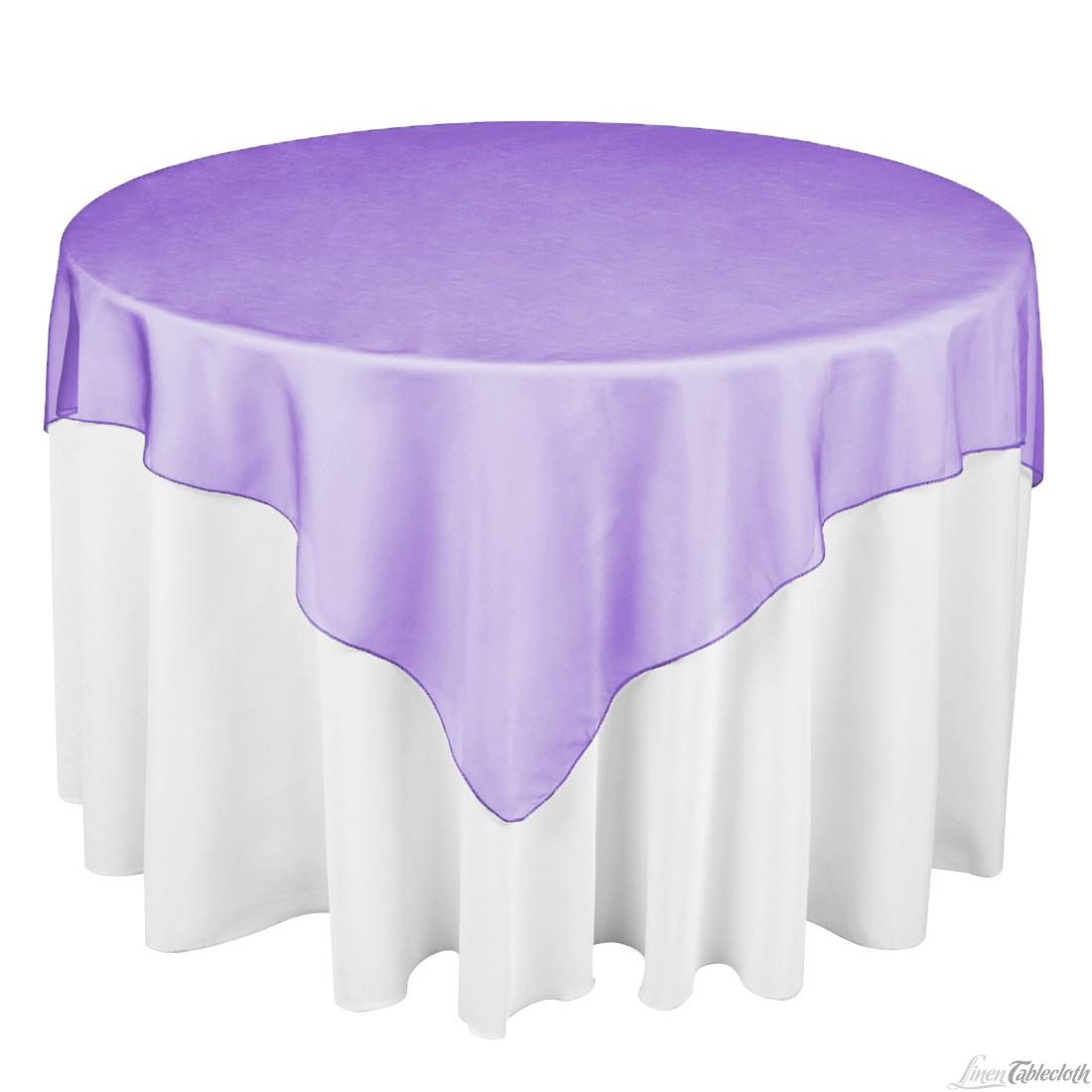 72 Square Purple Organza Over 120 Round Elegance Designs