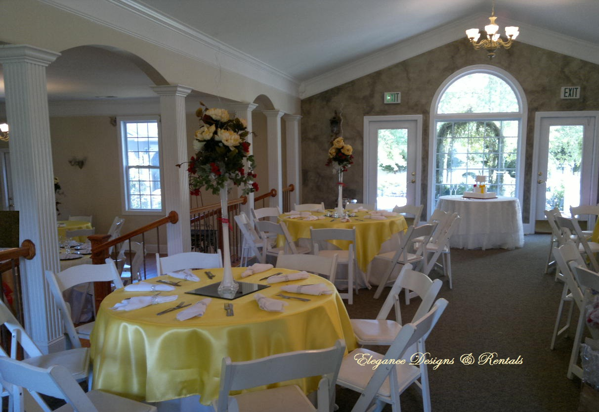 Yellow Satin Tables